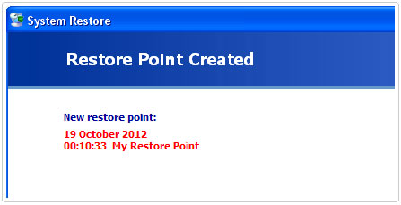 Restore Point Creation Confirmation