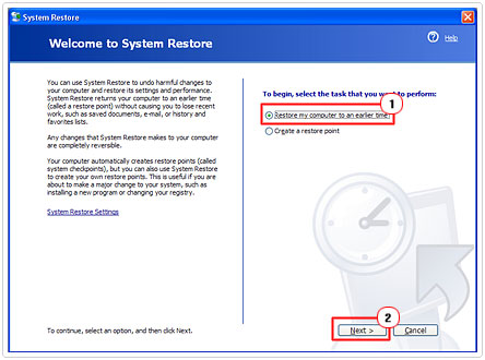 Welcome to System Restore page