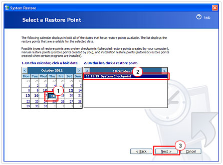 Selecting a Restore Point Page