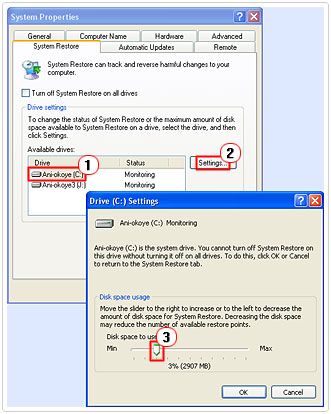 Changing System Restore Settings