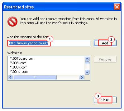 IE Block Sites