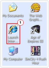 click on internet explorer icon