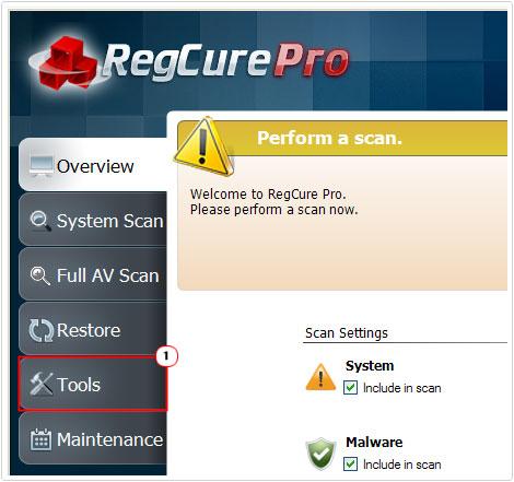 regcure pro -> tools