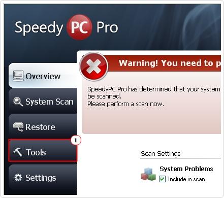 SpeedyPC Pro -> Tools