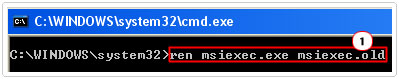 Type ren msiexec.exe msiexec.old