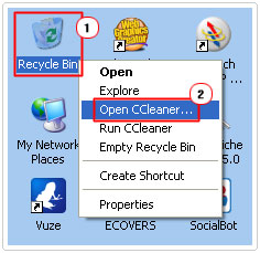 Open Ccleaner through recycle bin