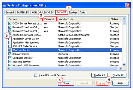 Services in System Configuration Utility