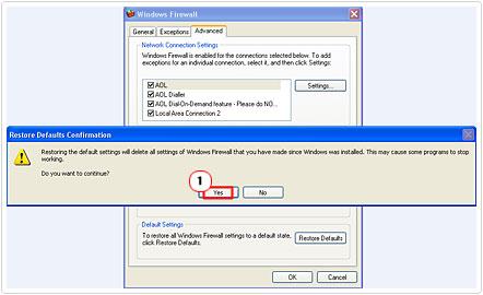 Restore Defaults Confirmation