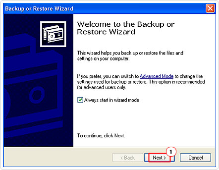Backup or Restore Wizard applet