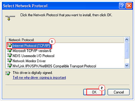 Add Internet Protocol (TCP/IP)