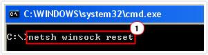Command netsh winsock reset
