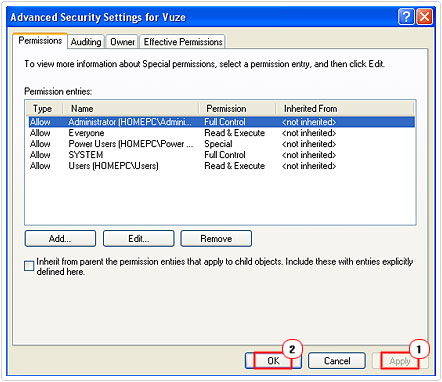 Confirm Advanced Security Settings