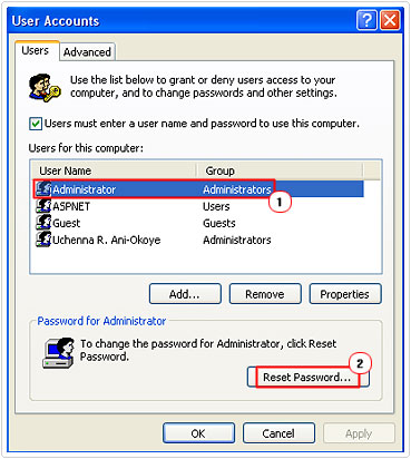 Reset Password of admin