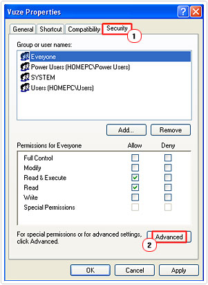 Program security settings