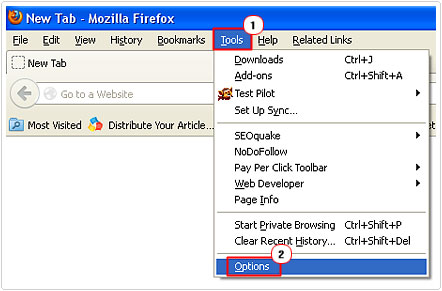 select firefox options