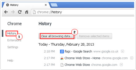 Access Clear all browser data