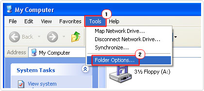 click on tools -> folder options