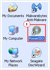 click on poweriso icon