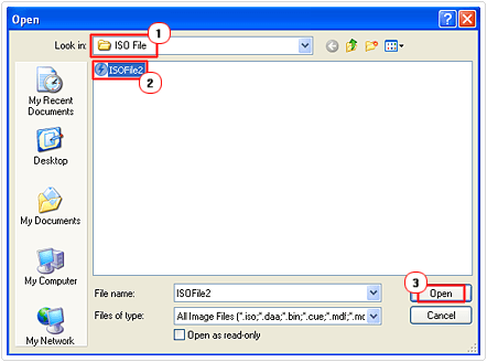 select and open iso file