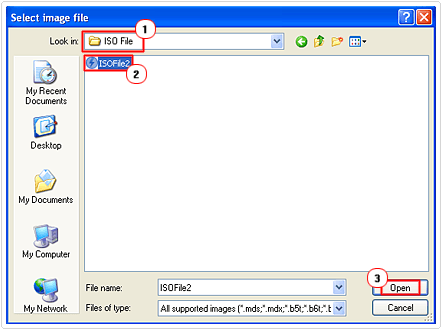 locate and mount iso file