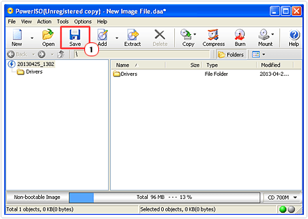 click on iso save button