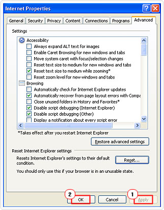 confirm reset in internet explorer
