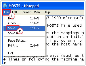 save changes to host file