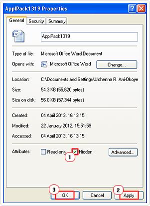 set file to hidden
