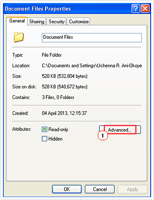 access advanced folder options
