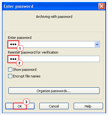 create archive password and close