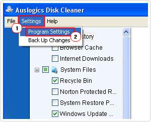 cleanup program settings