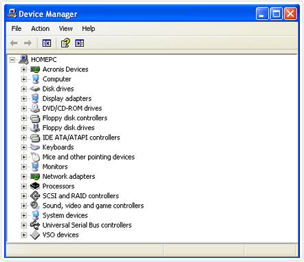 display of device manager