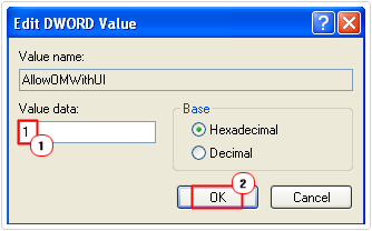 set AllowOMWithUI value to 1