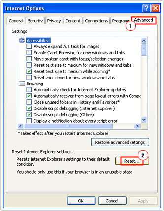 Resetting your IE