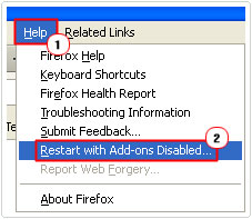 Restart Firefox with Add-ons Disabled