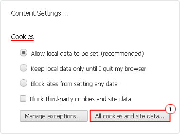 All cookies and site data Button