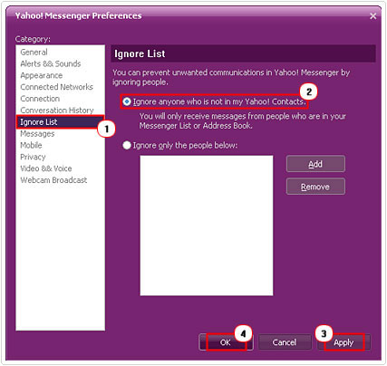 Yahoo Messenger Ignore List Settings