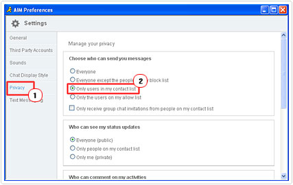 AIM Only users in your contact list