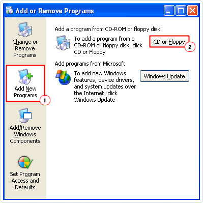 Choose Add New Programs