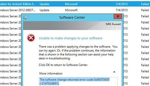 Repairing Error 0x80070005