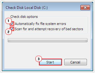 Check Both Options then select Start