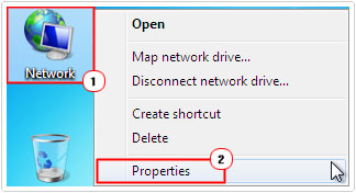Click on Network then Properties