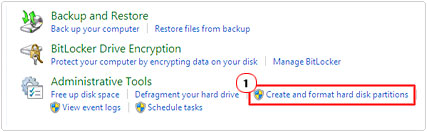 Select Create and format hard drive partitions