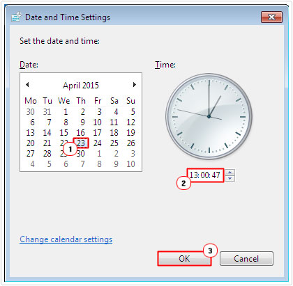 set the correct date/time