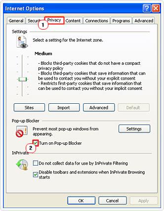 Turn on pop-up blocker box ticked