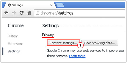 Click on Content Settings