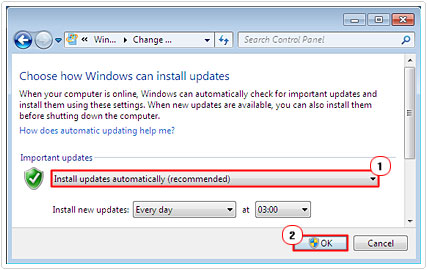 Set Updates to install automatically