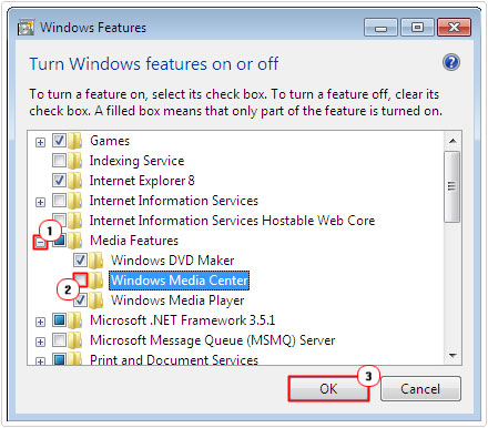 Untick Windows Media Center box