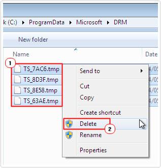 Delete files in cache