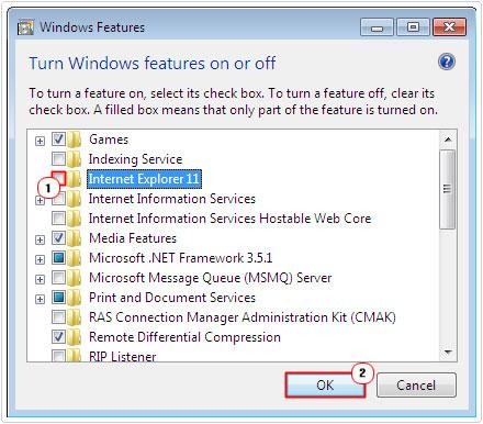 Uncheck Internet Explorer